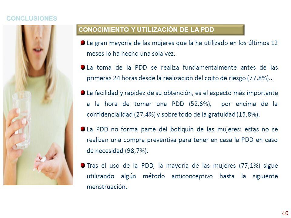 CONCLUSIONESCONOCIMIENTO Y UTILIZACIÓN DE LA PDD.