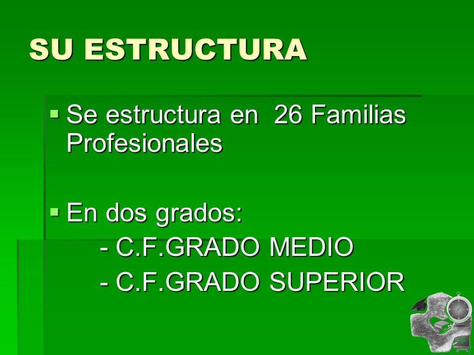 SU ESTRUCTURA Se estructura en 26 Familias Profesionales