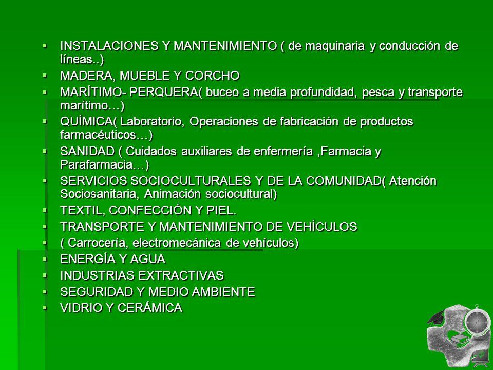 INSTALACIONES Y MANTENIMIENTO ( de maquinaria y conducción de líneas..)