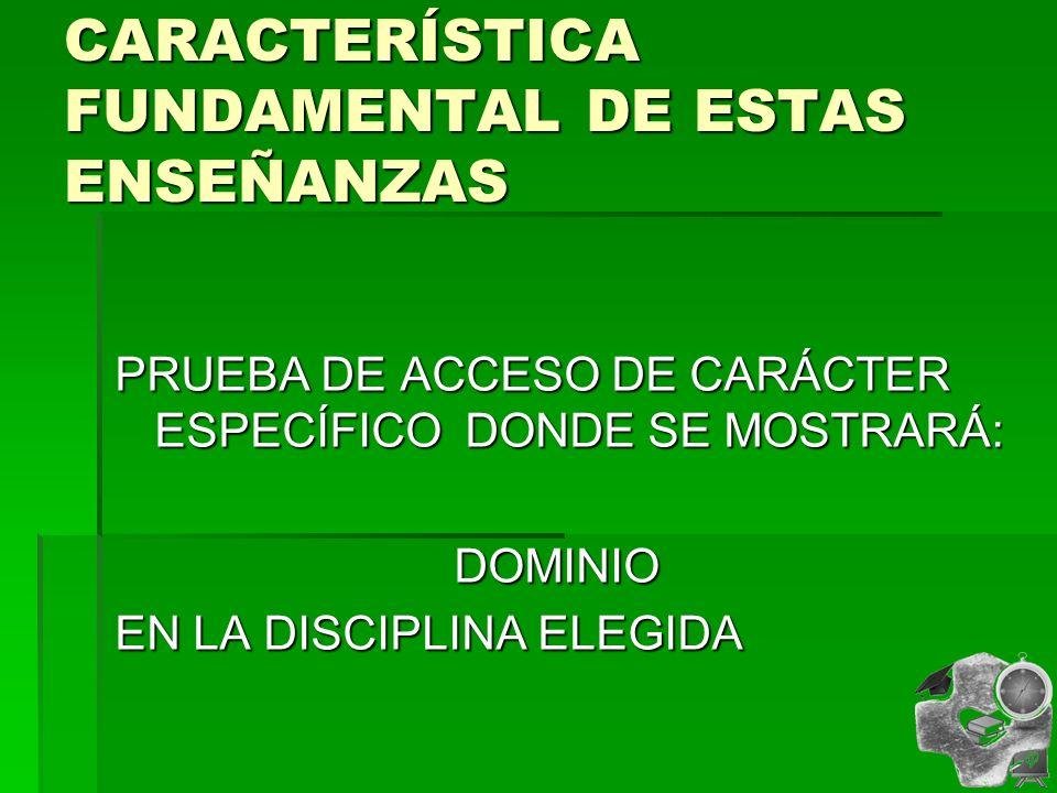 CARACTERÍSTICA FUNDAMENTAL DE ESTAS ENSEÑANZAS