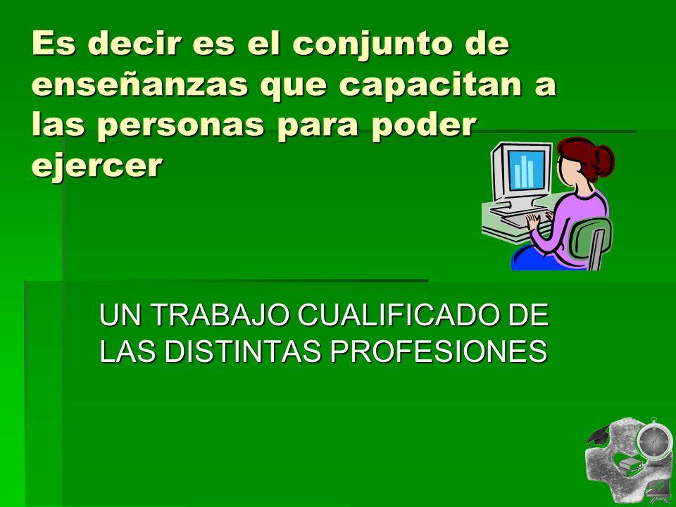 UN TRABAJO CUALIFICADO DE LAS DISTINTAS PROFESIONES