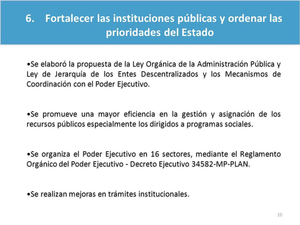 6. Fortalecer las instituciones públicas y ordenar las prioridades del Estado