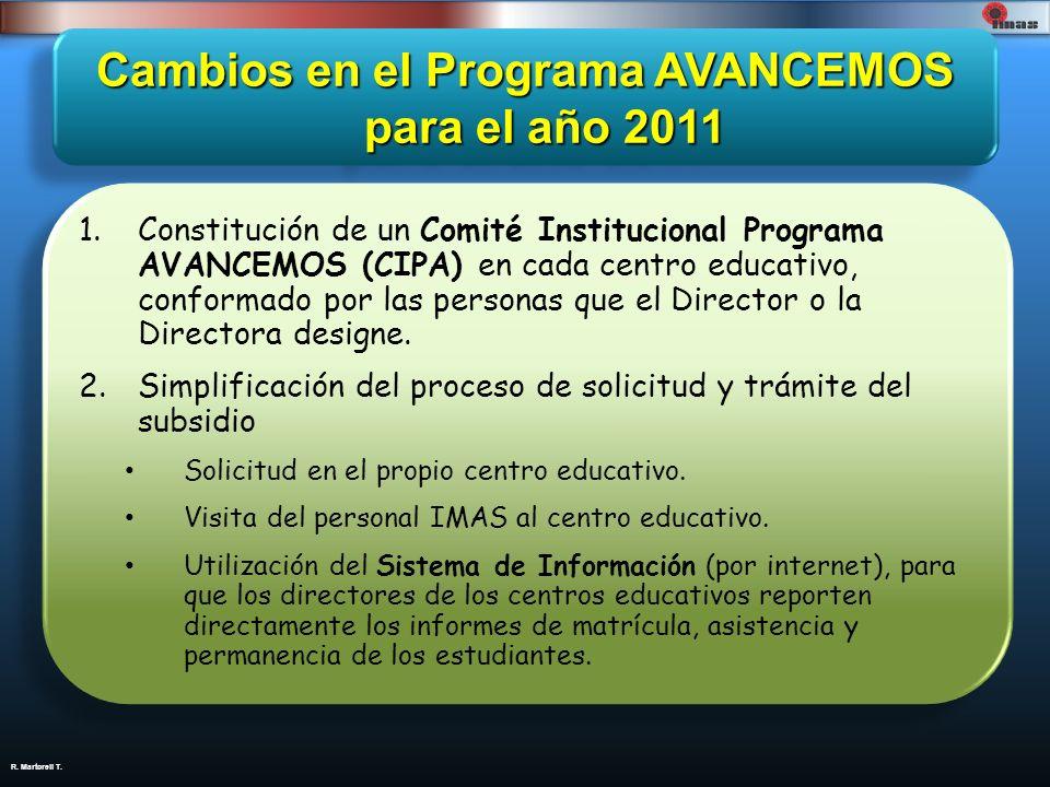 Cambios en el Programa AVANCEMOS para el año 2011