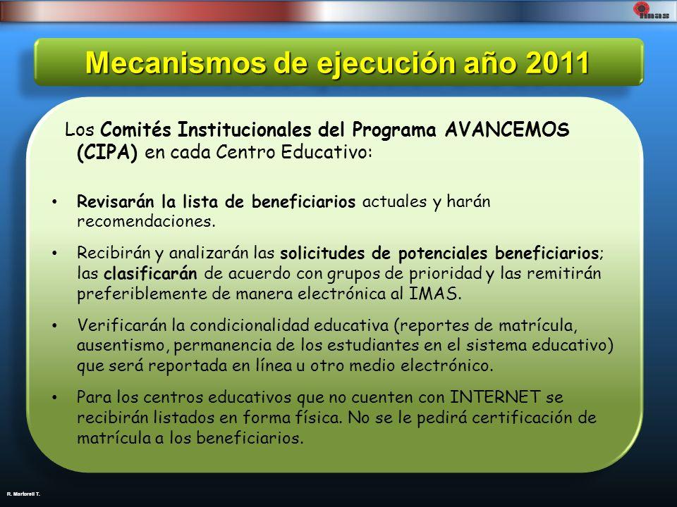 Mecanismos de ejecución año 2011