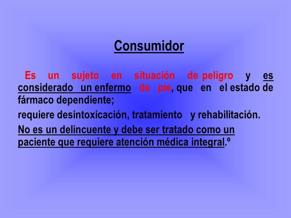 Consumidor requiere desintoxicación, tratamiento y rehabilitación.