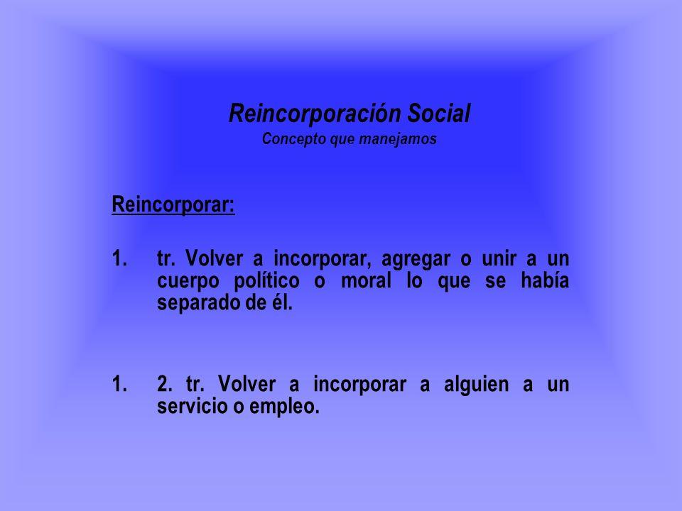 Reincorporación Social Concepto que manejamos
