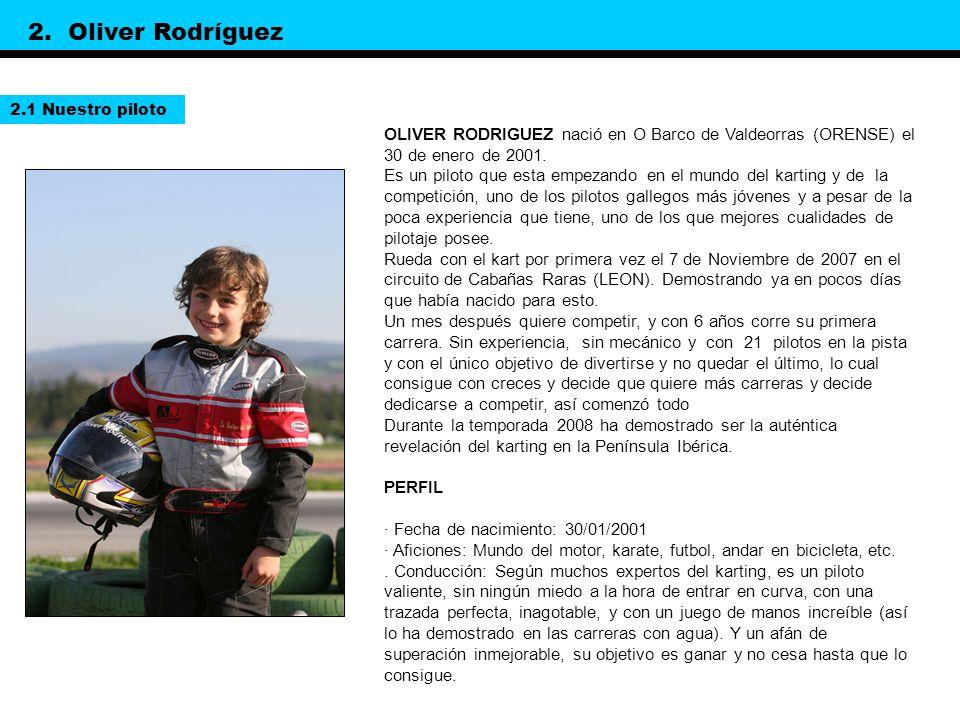 2. Oliver Rodríguez 2.1 Nuestro piloto. OLIVER RODRIGUEZ nació en O Barco de Valdeorras (ORENSE) el 30 de enero de 2001.