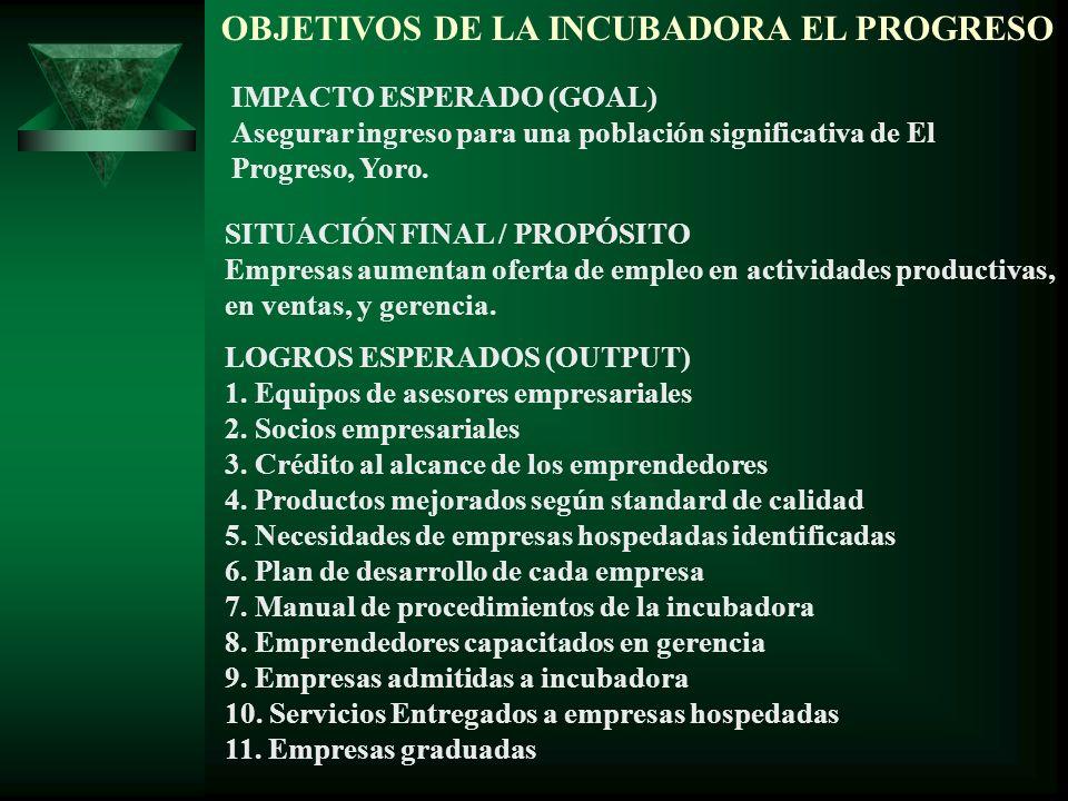 OBJETIVOS DE LA INCUBADORA EL PROGRESO