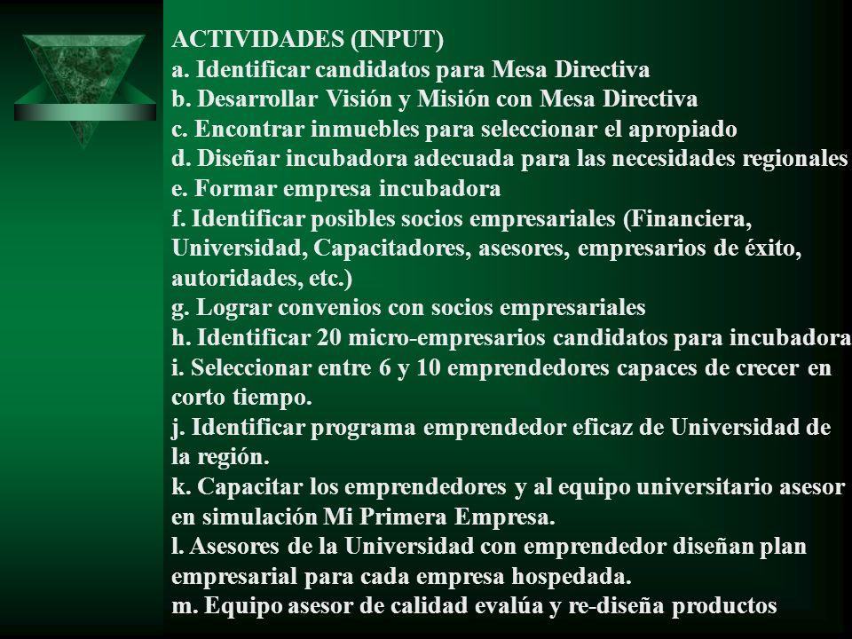 ACTIVIDADES (INPUT) a. Identificar candidatos para Mesa Directiva. b. Desarrollar Visión y Misión con Mesa Directiva.