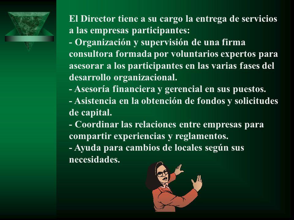 El Director tiene a su cargo la entrega de servicios a las empresas participantes: