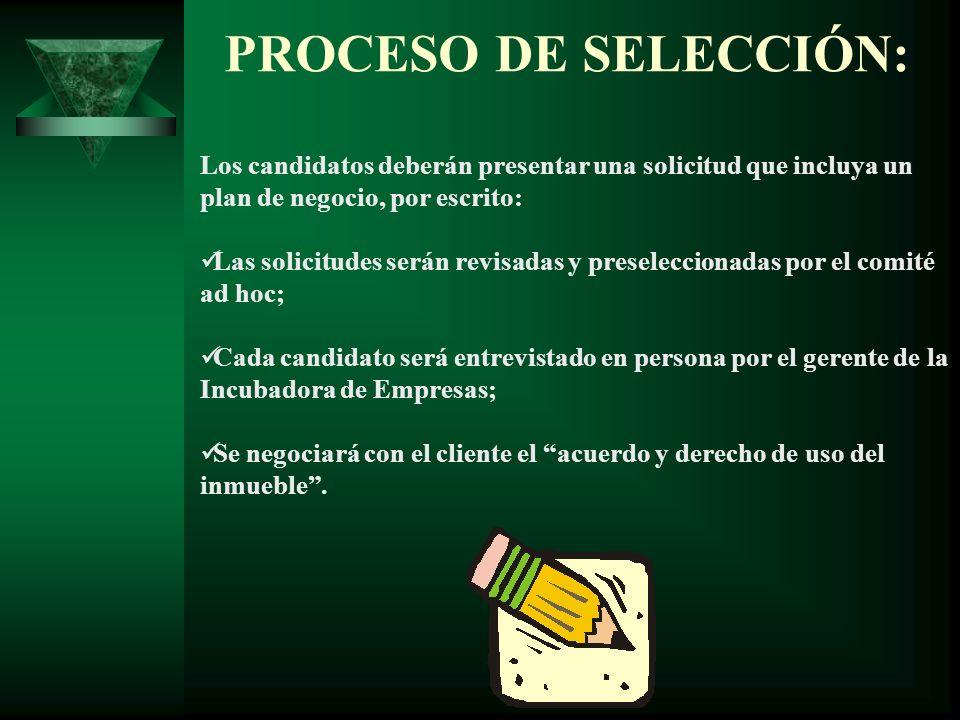 PROCESO DE SELECCIÓN: Los candidatos deberán presentar una solicitud que incluya un plan de negocio, por escrito: