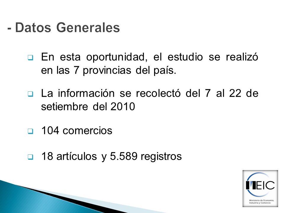 - Datos GeneralesEn esta oportunidad, el estudio se realizó en las 7 provincias del país.