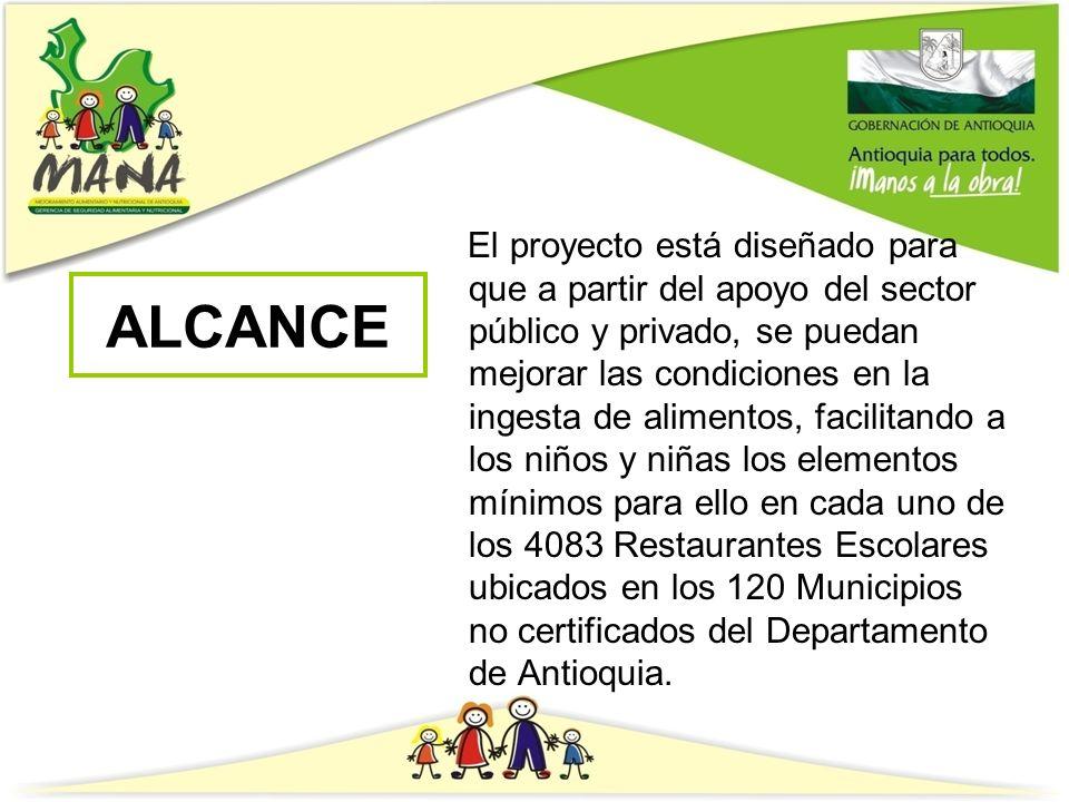 El proyecto está diseñado para que a partir del apoyo del sector público y privado, se puedan mejorar las condiciones en la ingesta de alimentos, facilitando a los niños y niñas los elementos mínimos para ello en cada uno de los 4083 Restaurantes Escolares ubicados en los 120 Municipios no certificados del Departamento de Antioquia.