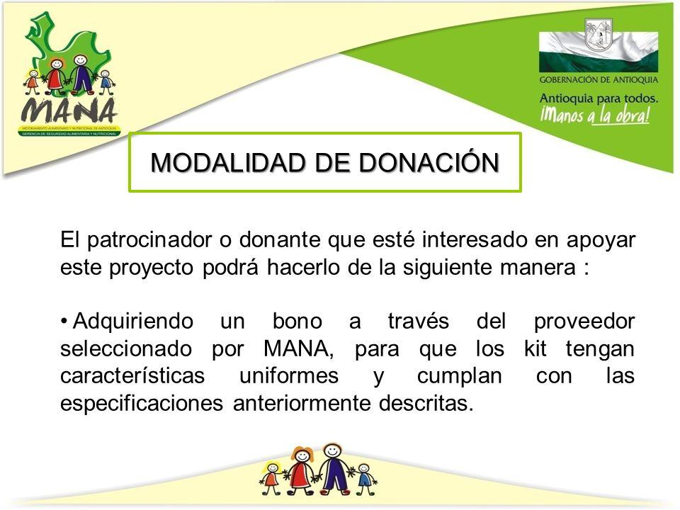 MODALIDAD DE DONACIÓN El patrocinador o donante que esté interesado en apoyar este proyecto podrá hacerlo de la siguiente manera :