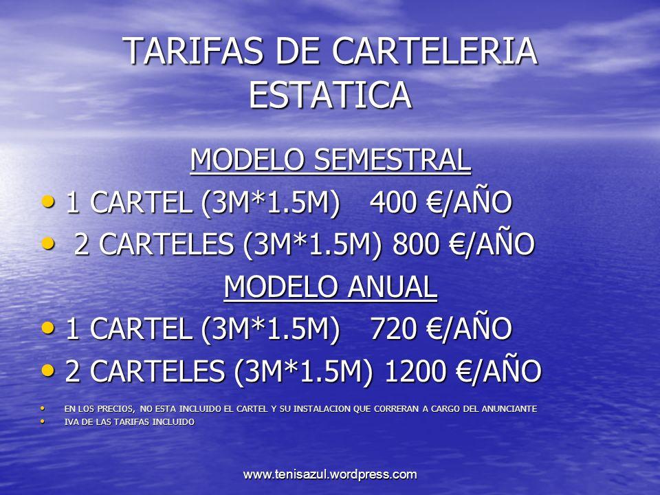 TARIFAS DE CARTELERIA ESTATICA