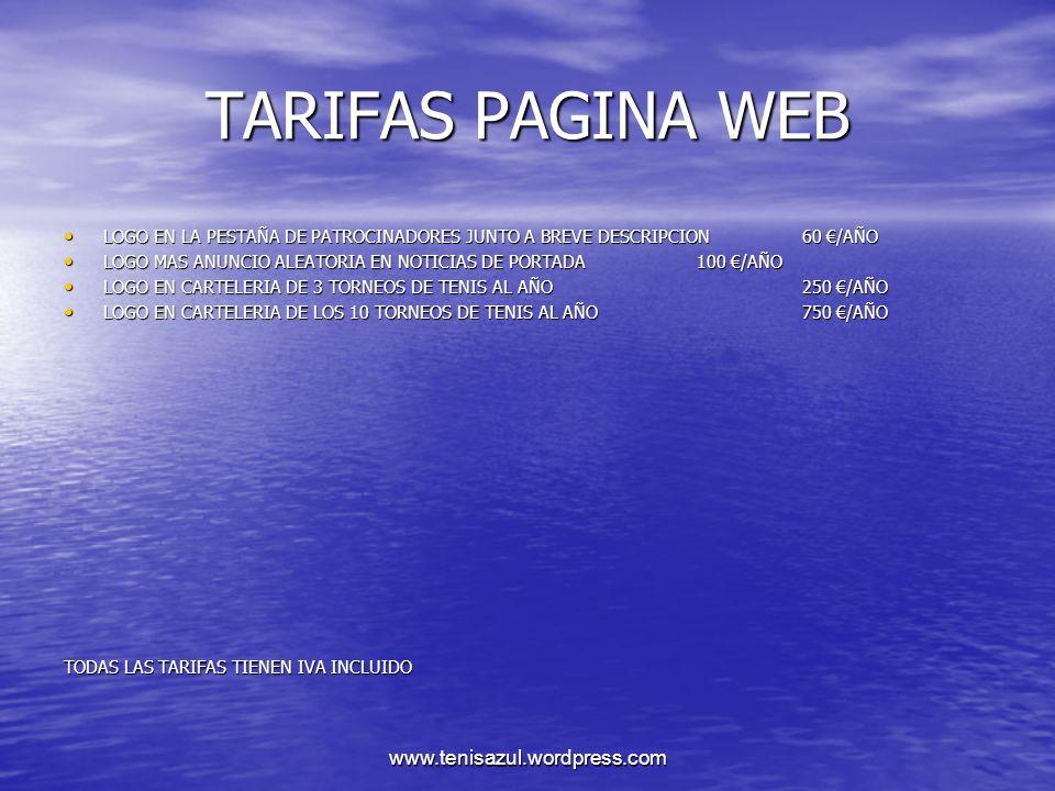 TARIFAS PAGINA WEB LOGO EN LA PESTAÑA DE PATROCINADORES JUNTO A BREVE DESCRIPCION 60 €/AÑO.