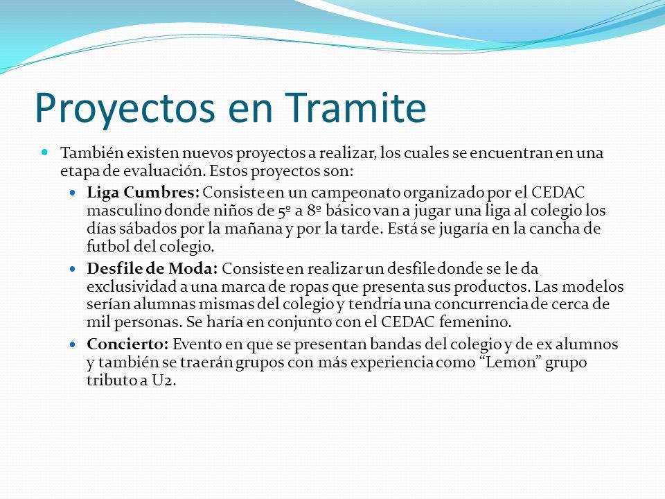 Proyectos en Tramite También existen nuevos proyectos a realizar, los cuales se encuentran en una etapa de evaluación. Estos proyectos son: