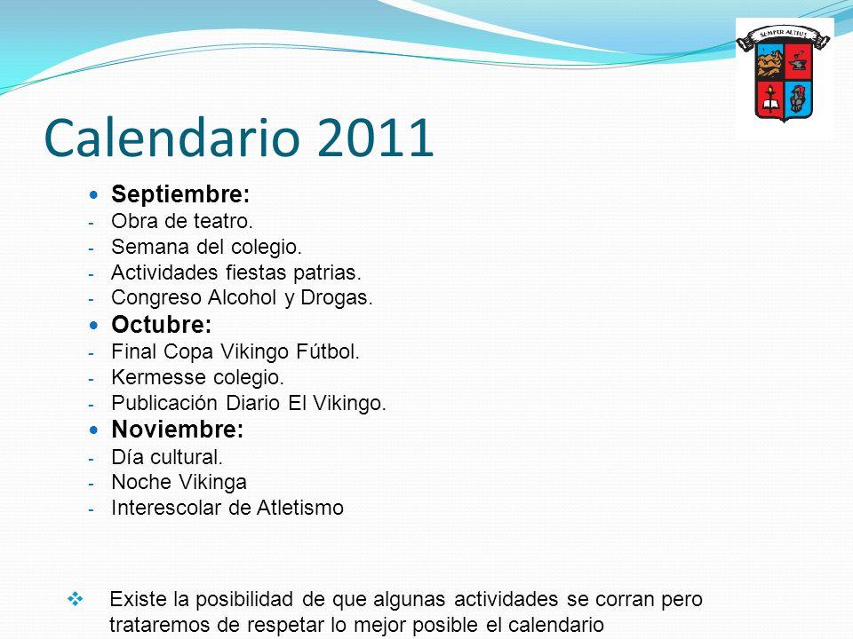 Calendario 2011 Septiembre: Octubre: Noviembre: Obra de teatro.