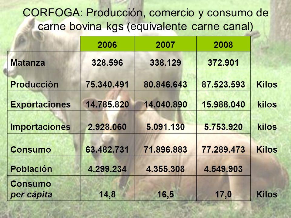 CORFOGA: Producción, comercio y consumo de carne bovina kgs (equivalente carne canal)