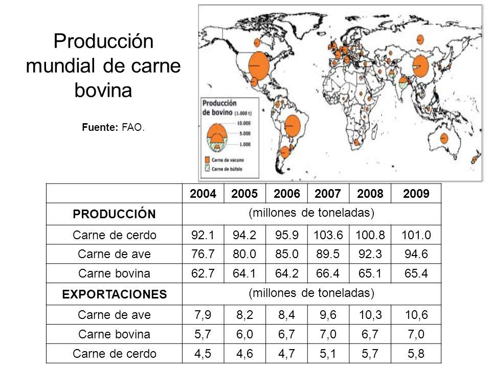 Producción mundial de carne bovina