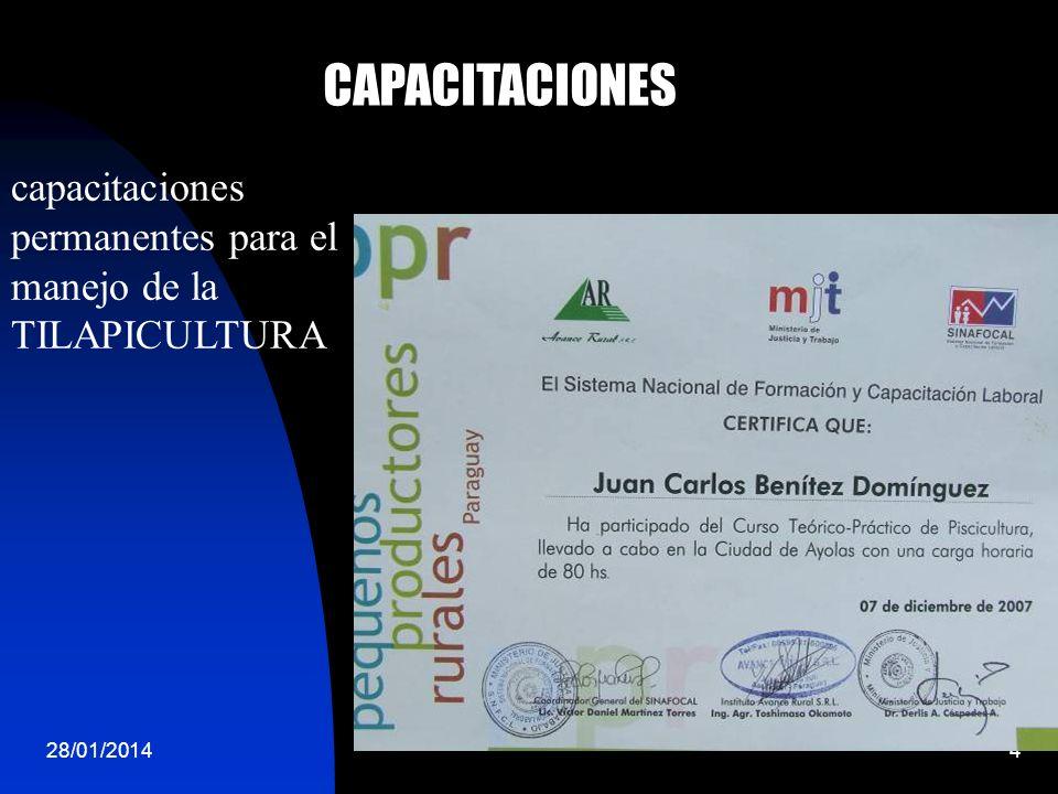 CAPACITACIONES capacitaciones permanentes para el manejo de la TILAPICULTURA 24/03/2017