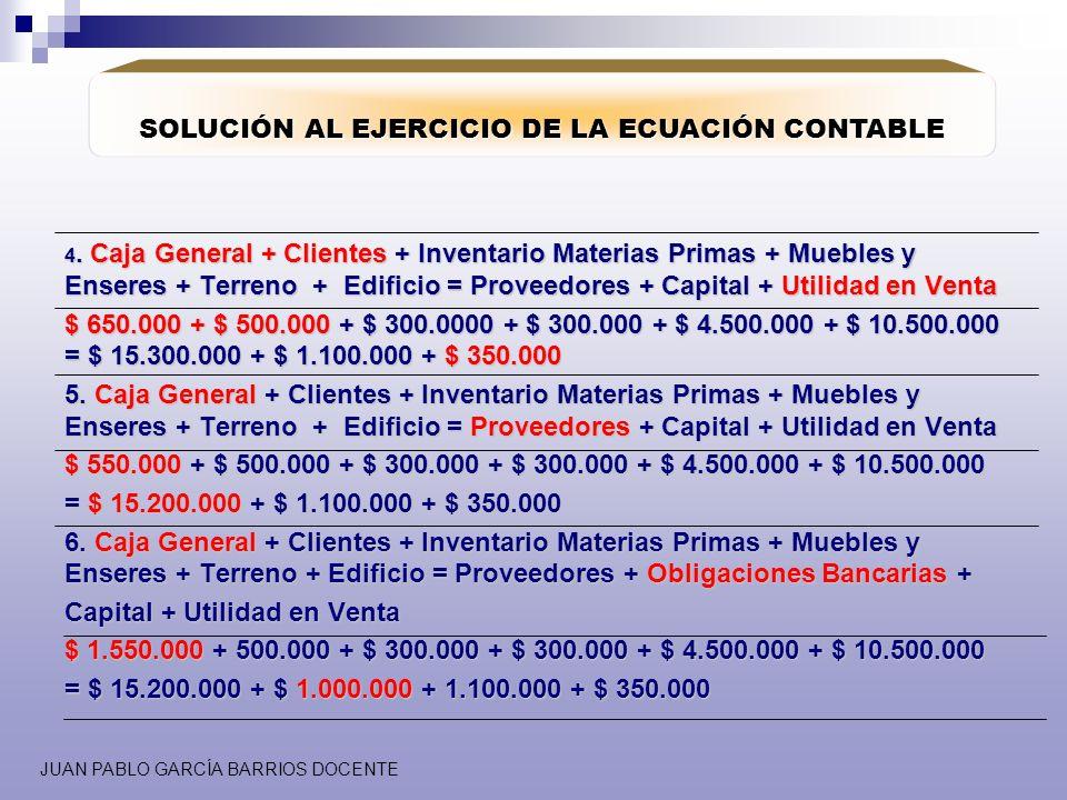 SOLUCIÓN AL EJERCICIO DE LA ECUACIÓN CONTABLE