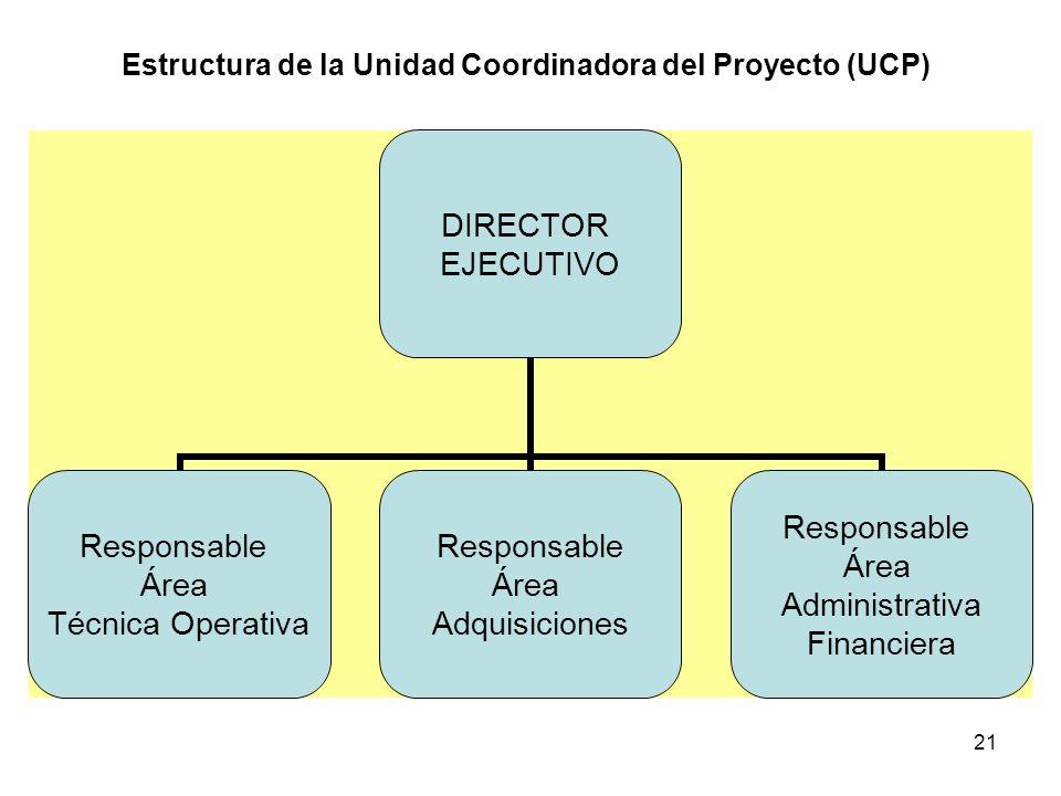Estructura de la Unidad Coordinadora del Proyecto (UCP)