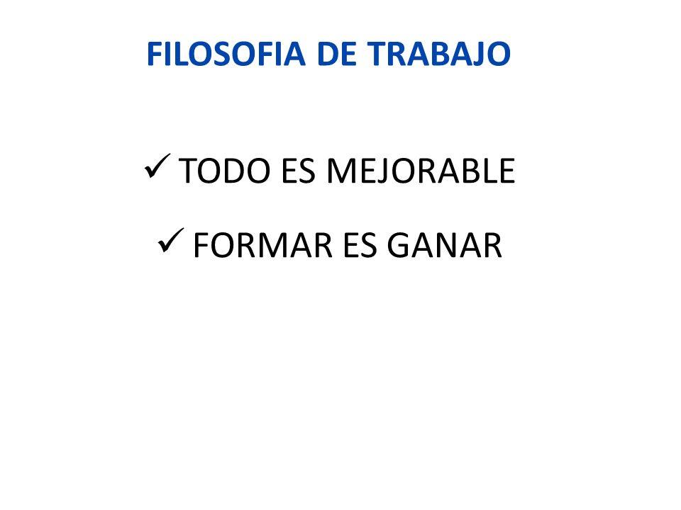 FILOSOFIA DE TRABAJO TODO ES MEJORABLE FORMAR ES GANAR