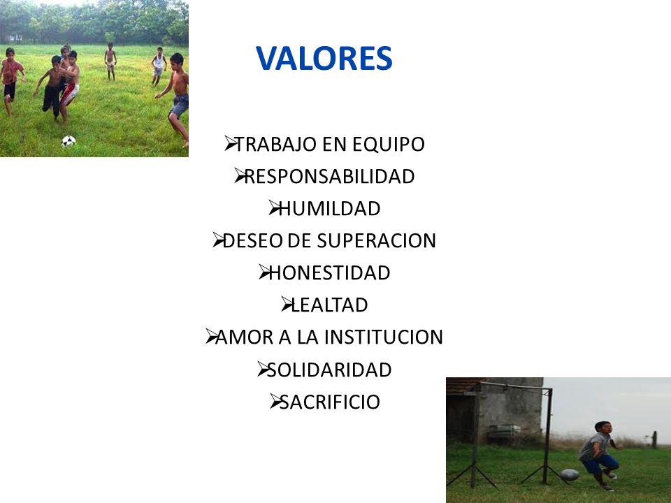 VALORES TRABAJO EN EQUIPO RESPONSABILIDAD HUMILDAD DESEO DE SUPERACION
