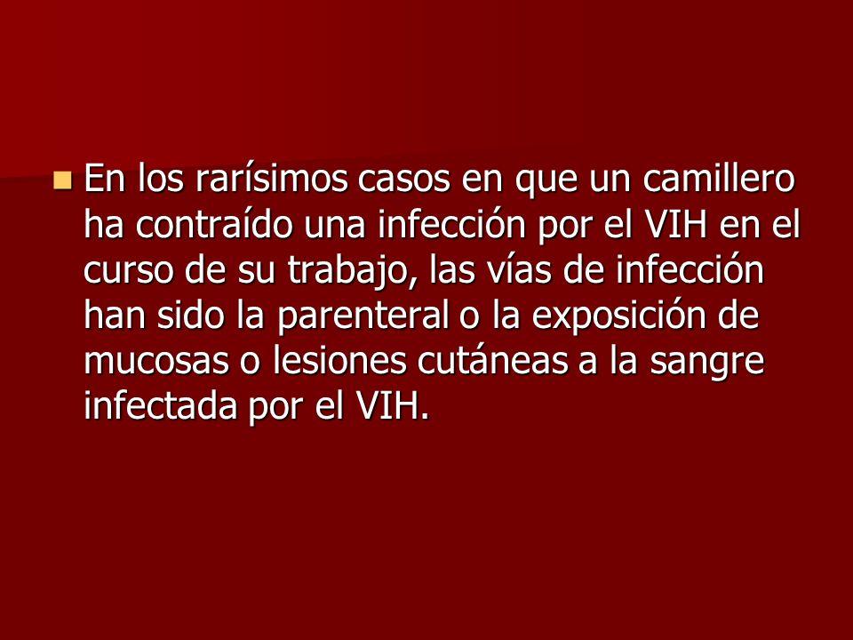 En los rarísimos casos en que un camillero ha contraído una infección por el VIH en el curso de su trabajo, las vías de infección han sido la parenteral o la exposición de mucosas o lesiones cutáneas a la sangre infectada por el VIH.