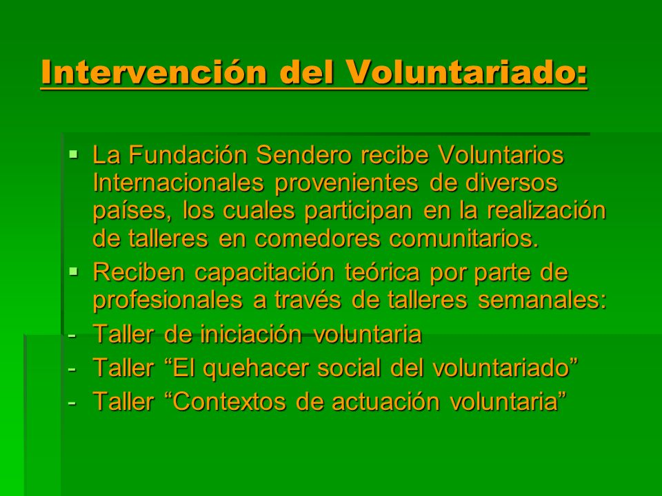 Intervención del Voluntariado: