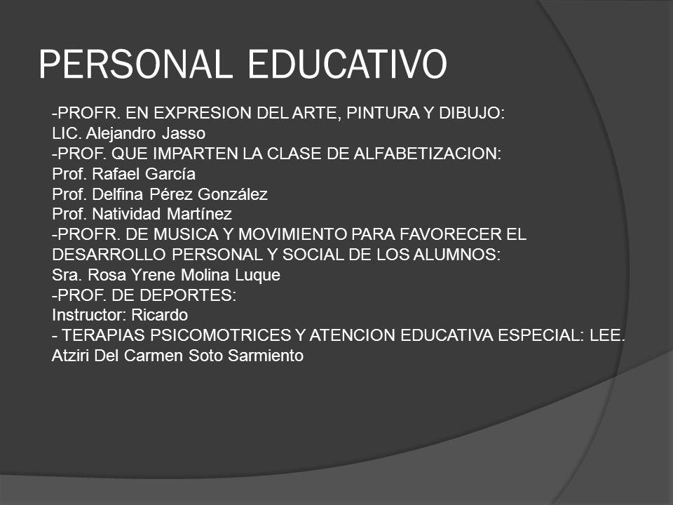 PERSONAL EDUCATIVO -PROFR. EN EXPRESION DEL ARTE, PINTURA Y DIBUJO: