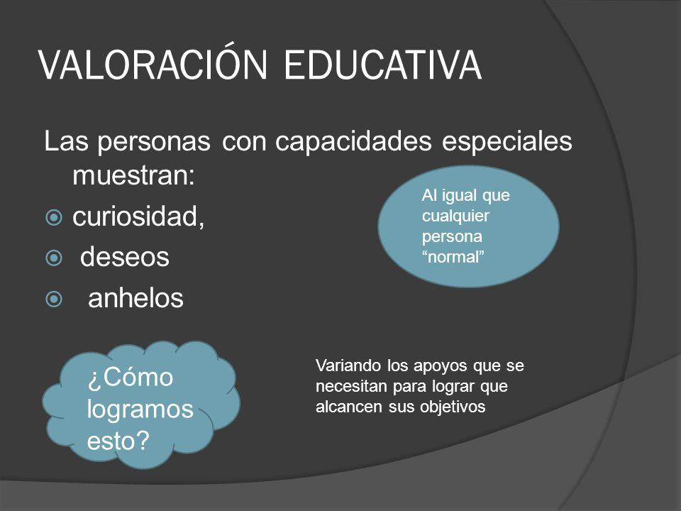 VALORACIÓN EDUCATIVA Las personas con capacidades especiales muestran: