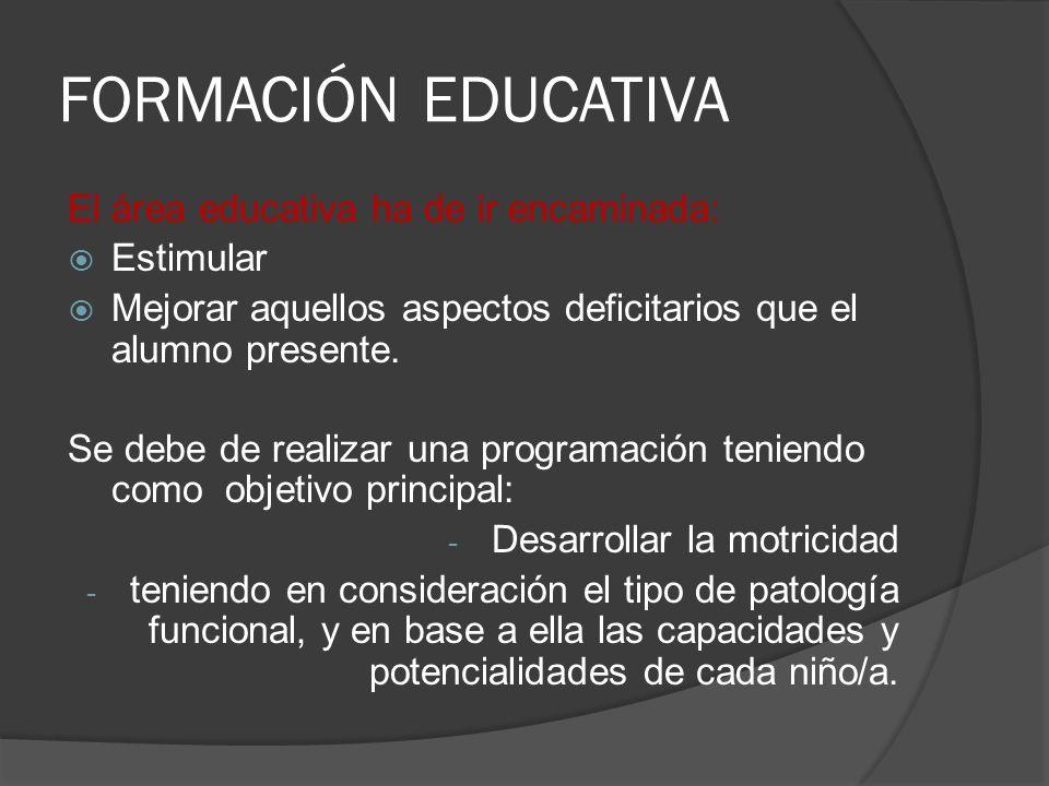 FORMACIÓN EDUCATIVA El área educativa ha de ir encaminada: Estimular