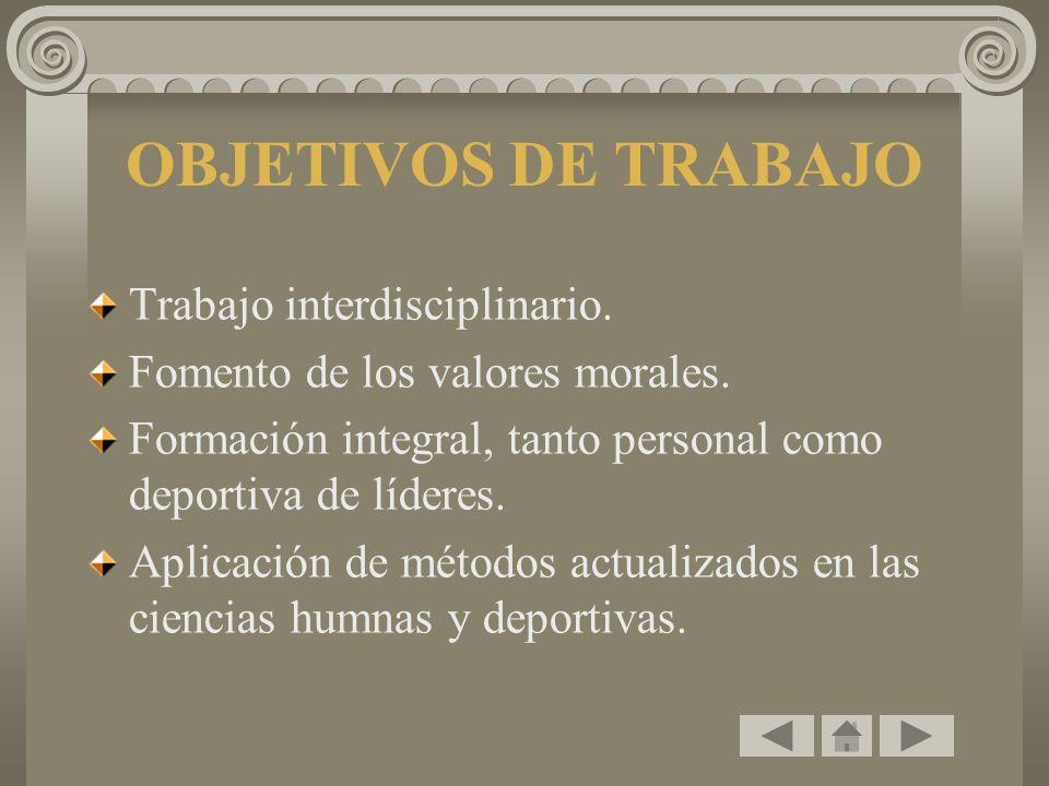 OBJETIVOS DE TRABAJO Trabajo interdisciplinario.