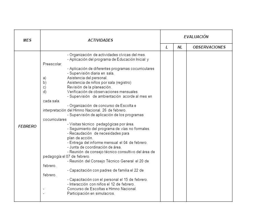 MES ACTIVIDADES. EVALUACIÓN. L. NL. OBSERVACIONES. FEBRERO. - Organización de actividades cívicas del mes.