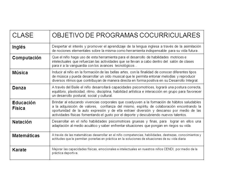 OBJETIVO DE PROGRAMAS COCURRICULARES