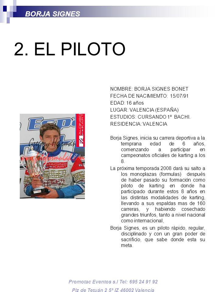 2. EL PILOTO BORJA SIGNES NOMBRE: BORJA SIGNES BONET