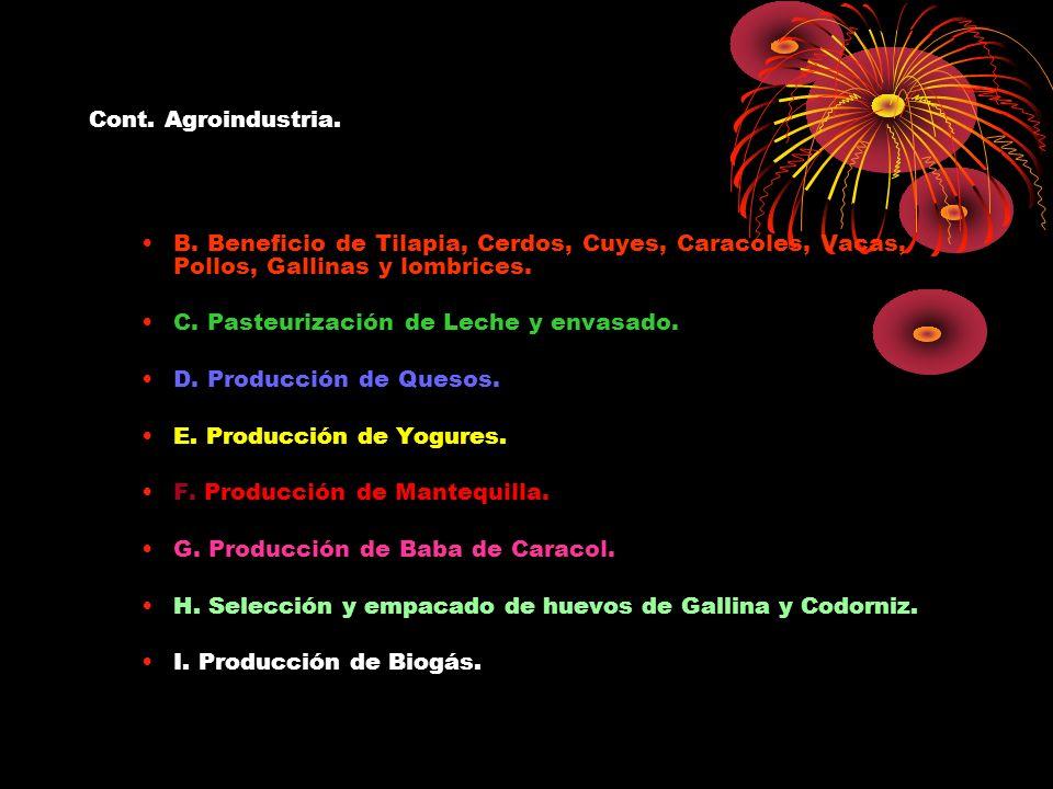 Cont. Agroindustria. B. Beneficio de Tilapia, Cerdos, Cuyes, Caracoles, Vacas, Pollos, Gallinas y lombrices.
