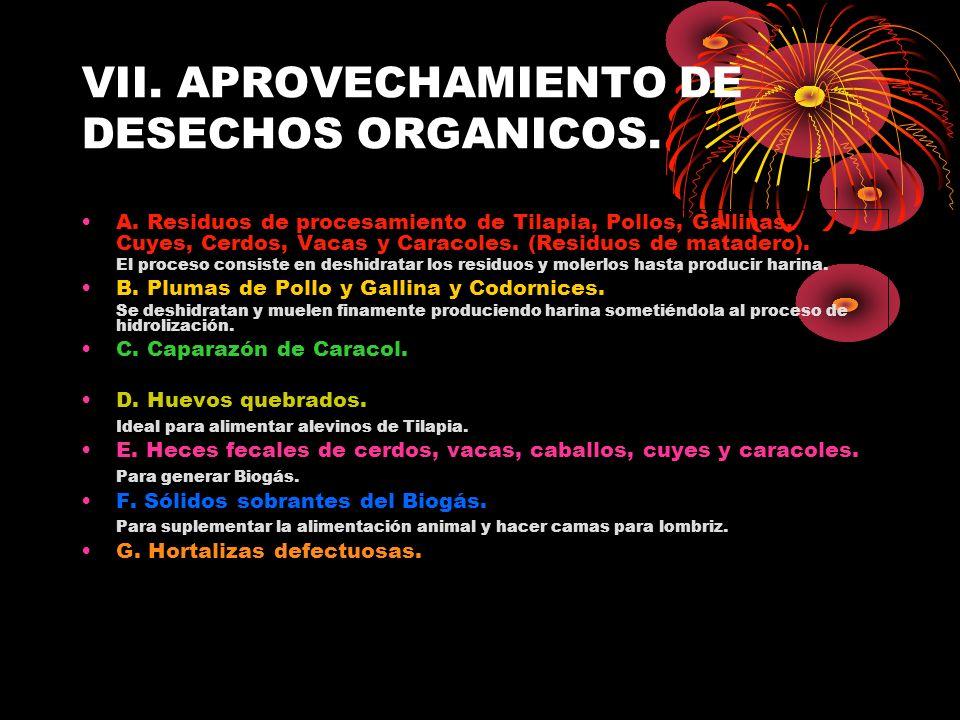 VII. APROVECHAMIENTO DE DESECHOS ORGANICOS.