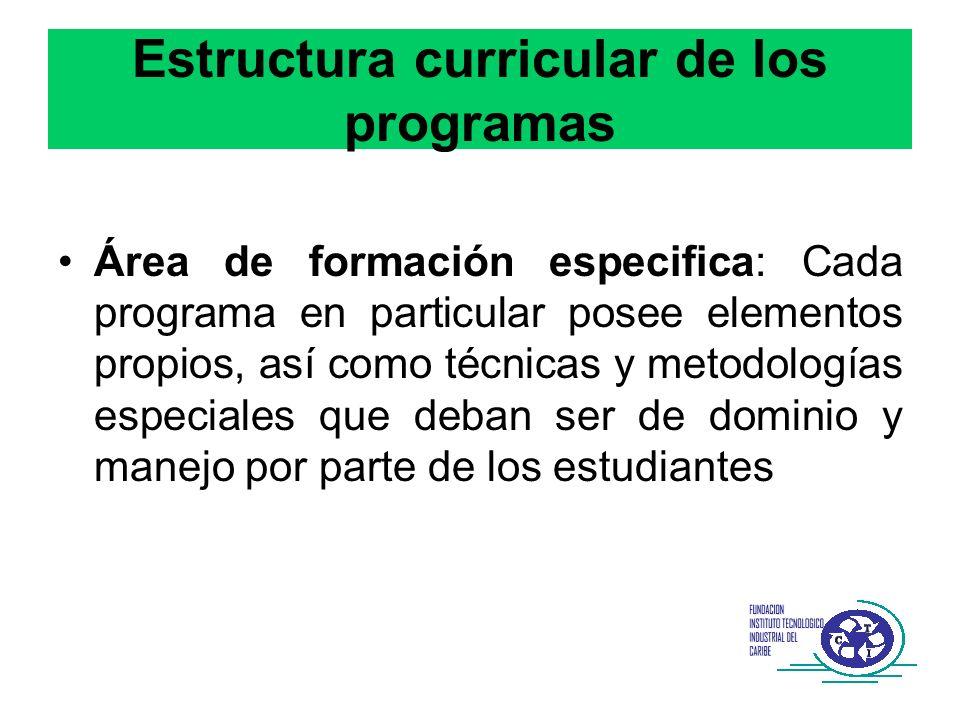 Estructura curricular de los programas