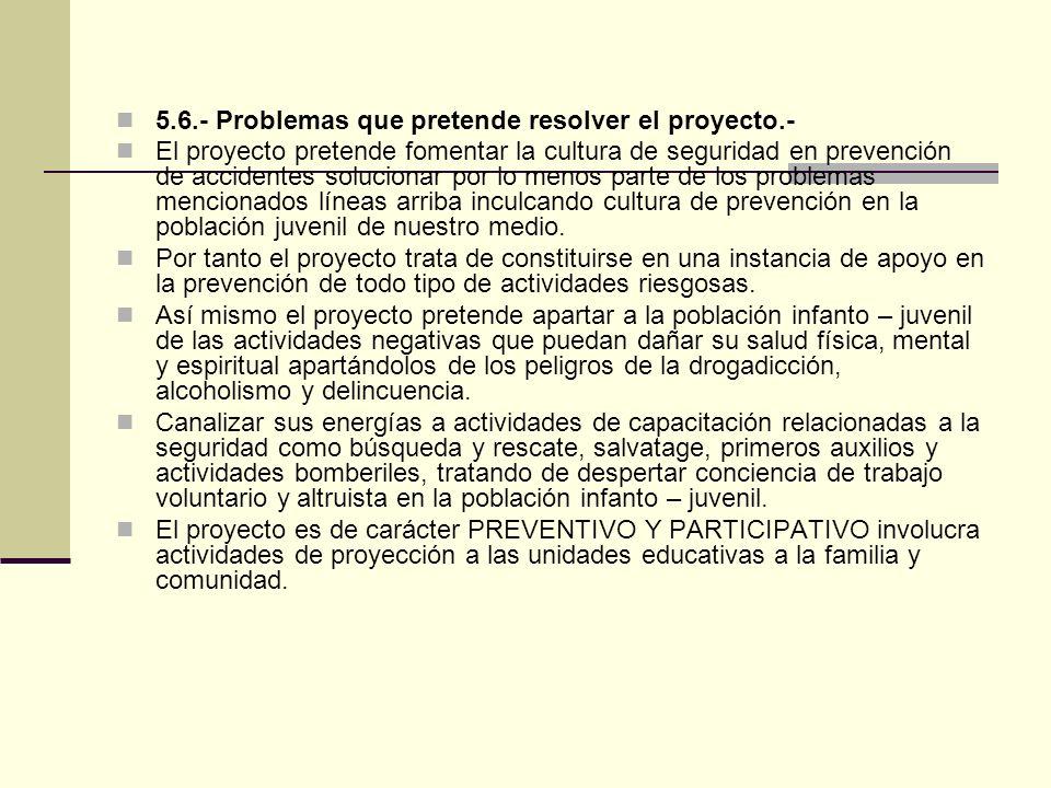 5.6.- Problemas que pretende resolver el proyecto.-