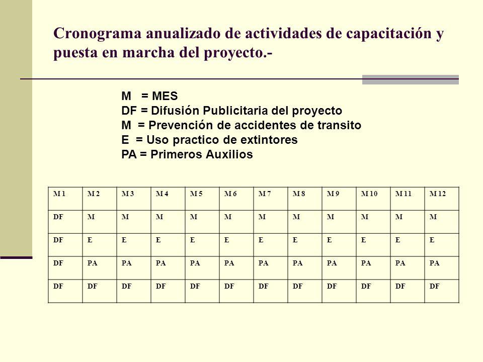 Cronograma anualizado de actividades de capacitación y puesta en marcha del proyecto.-