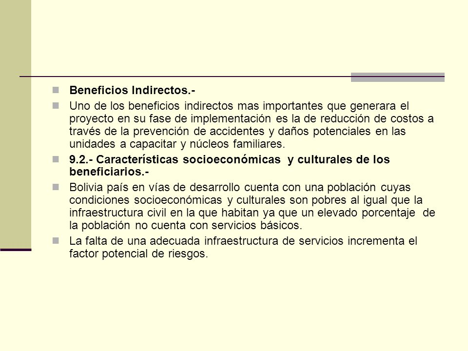 Beneficios Indirectos.-