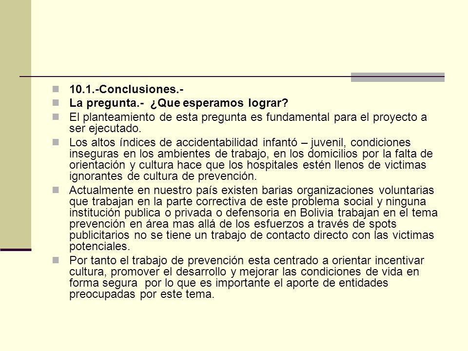 10.1.-Conclusiones.- La pregunta.- ¿Que esperamos lograr El planteamiento de esta pregunta es fundamental para el proyecto a ser ejecutado.