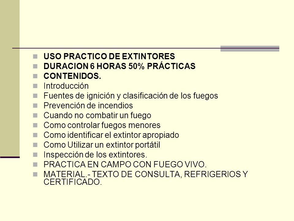 USO PRACTICO DE EXTINTORES