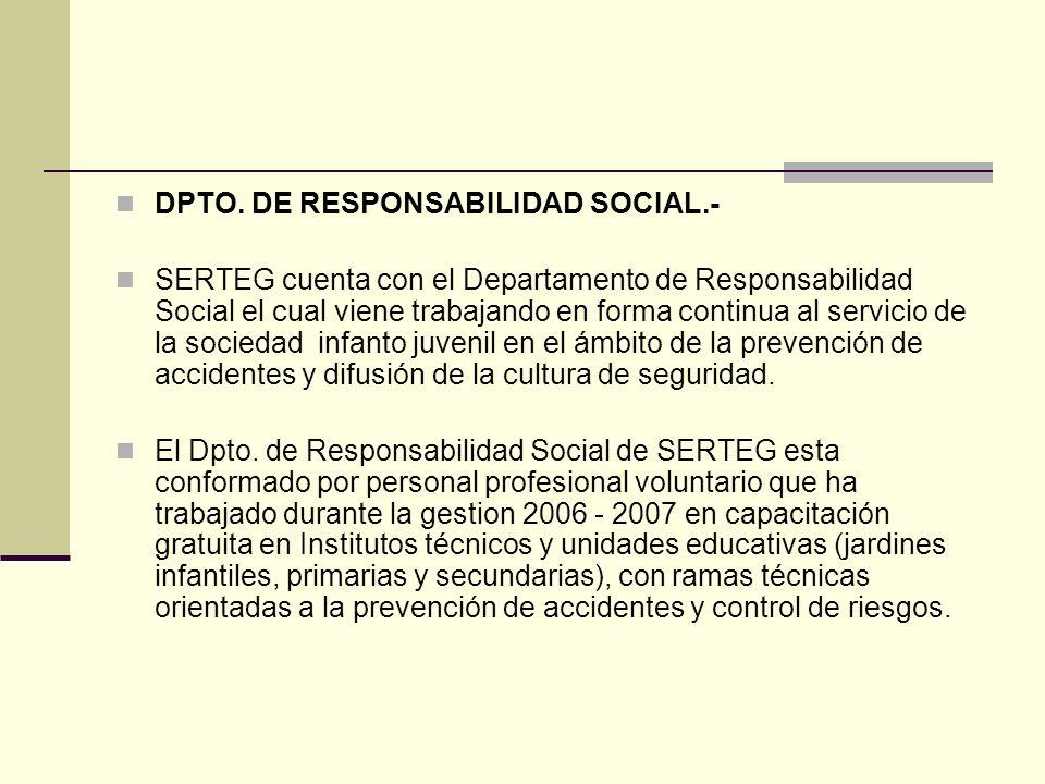DPTO. DE RESPONSABILIDAD SOCIAL.-