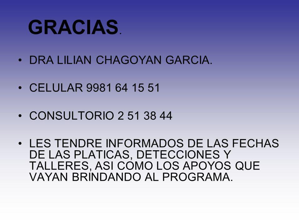 GRACIAS. DRA LILIAN CHAGOYAN GARCIA. CELULAR 9981 64 15 51. CONSULTORIO 2 51 38 44.