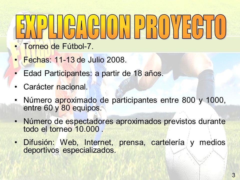 EXPLICACION PROYECTO Torneo de Fútbol-7. Fechas: 11-13 de Julio 2008.