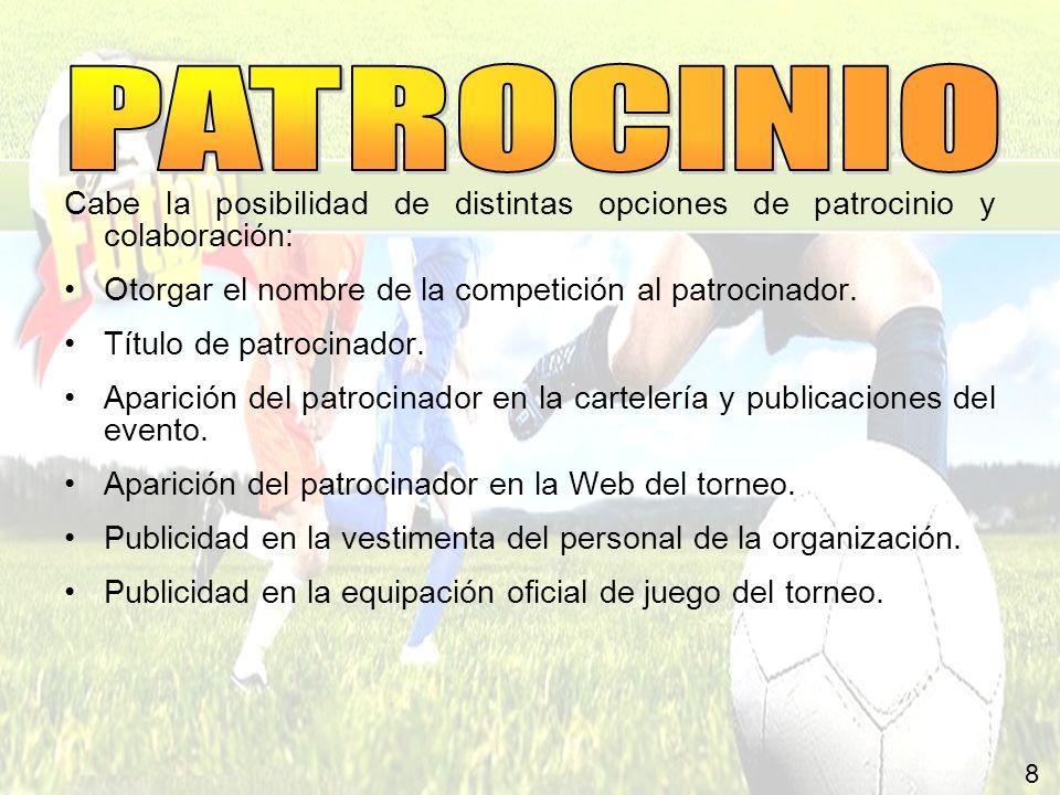 PATROCINIO Cabe la posibilidad de distintas opciones de patrocinio y colaboración: Otorgar el nombre de la competición al patrocinador.